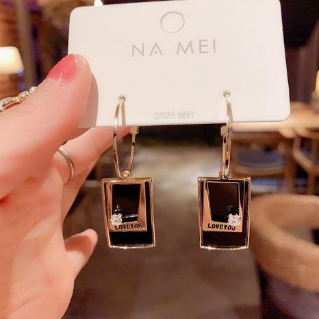 Black geometric square earrings  NHXI298450's discount tags