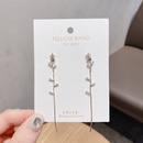 Korea gold plating small fresh flower zircon earrings NHXI298461