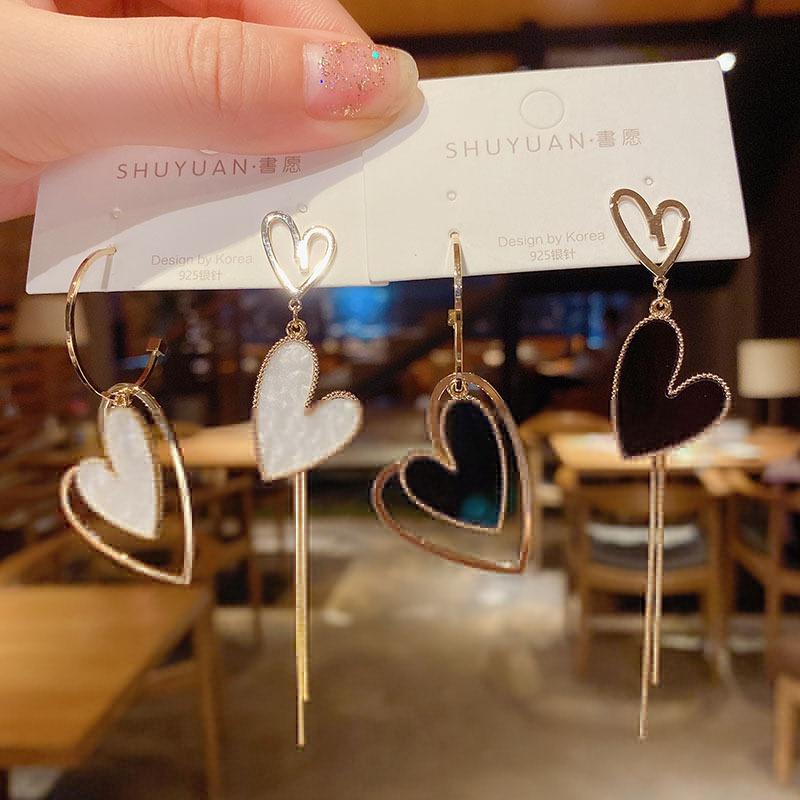 Asymmetrical tassel love earrings NHXI298465
