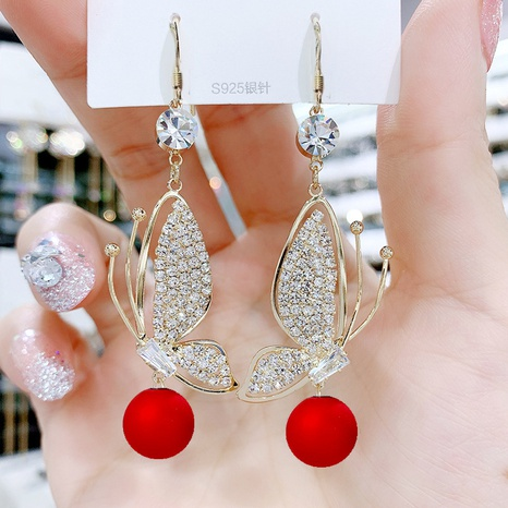 red pearl super flash full diamond butterfly wings earrings  NHXI298496's discount tags