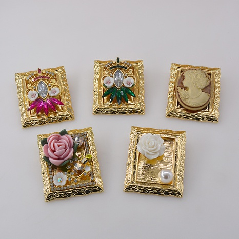 retro picture frame oil painting brooch NHNT298508's discount tags