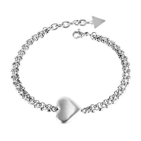 Korea popular double-layer titanium steel peach heart bracelet NHOP298517's discount tags