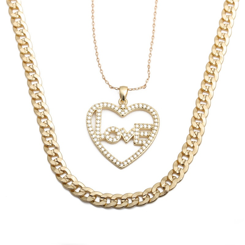 heart-shaped letter LOVE necklace NHYL298523
