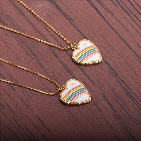Mikro-eingelegte Zirkon-Herzanhänger-Halskette NHYL298546's discount tags