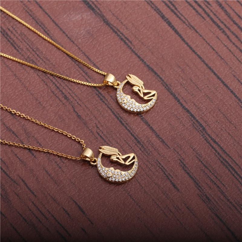 micro-inlaid zircon moon angel necklace  NHYL298552