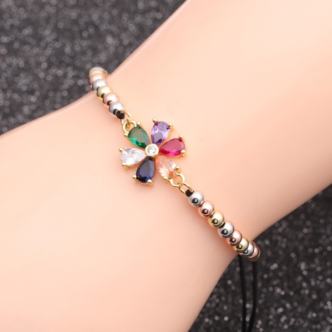 copper adjustable chain colorful flower bracelet  NHYL298577's discount tags