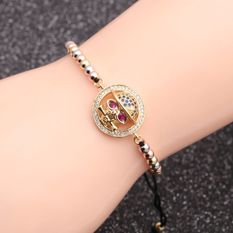 new hot selling micro-inlaid zircon skull bracelet  NHYL298581's discount tags