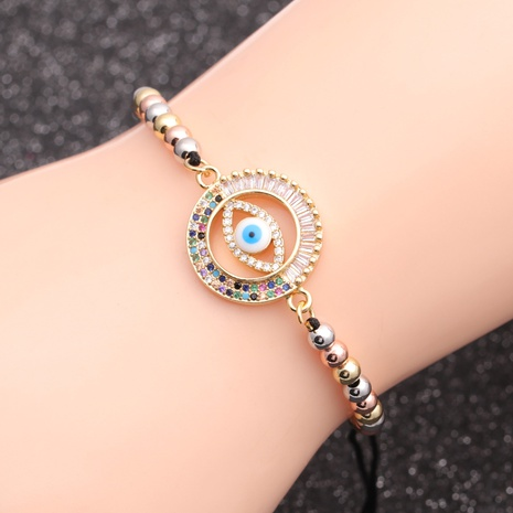 copper micro-inlaid zircon devil's eye bracelet  NHYL298598's discount tags