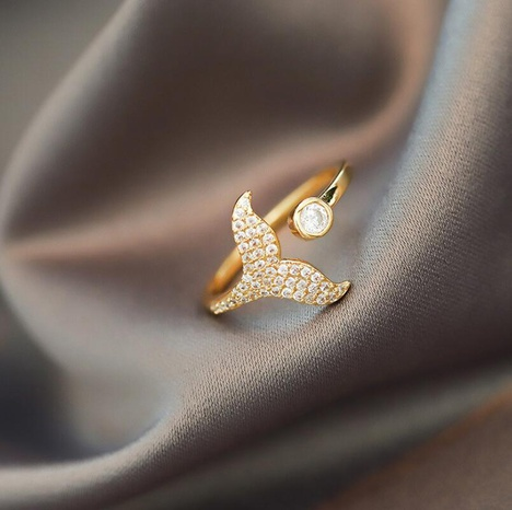 anillo abierto de cola de pez simple de moda NHOT298852's discount tags