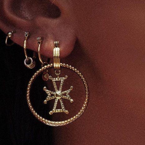 fashion spiral round cross metal grain alloy earrings NHGY298790's discount tags