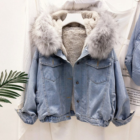 Winter thick plush fur collar denim jacket  NHJC299153's discount tags