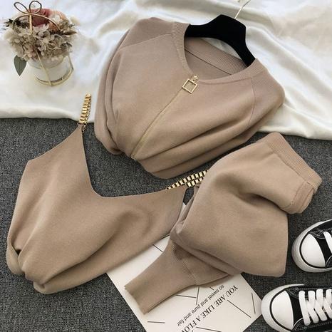 neue Kettenweste Strickjacke dreiteilige elastische Hose NHJC299151's discount tags