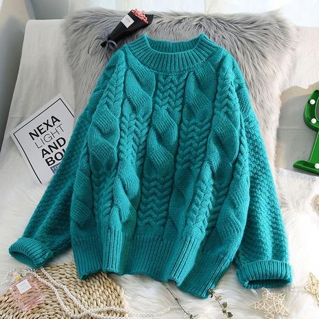 nuevo suéter suelto de torsión gruesa NHJG299150's discount tags