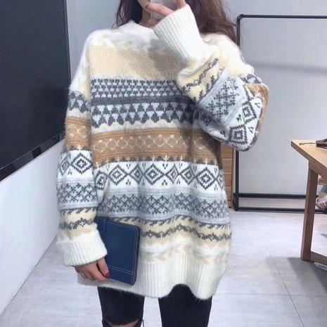 nuevo suéter suelto retro de manga larga con cuello redondo NHJG299149's discount tags