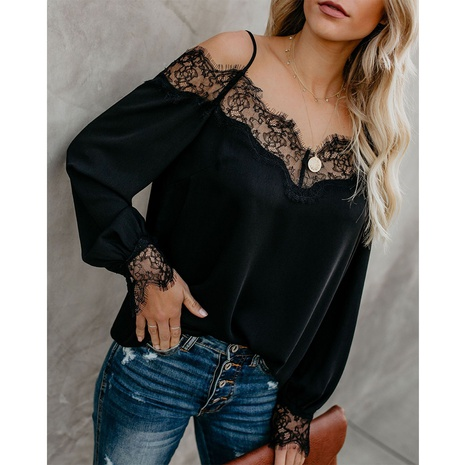 new style lace stitching chiffon long-sleeved top NHJG299145's discount tags