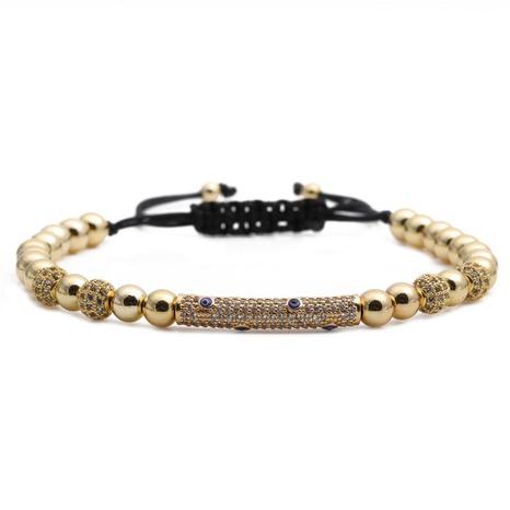 zircon diamond ball copper bead devil's eye woven adjustable bracelet  NHYL298675's discount tags