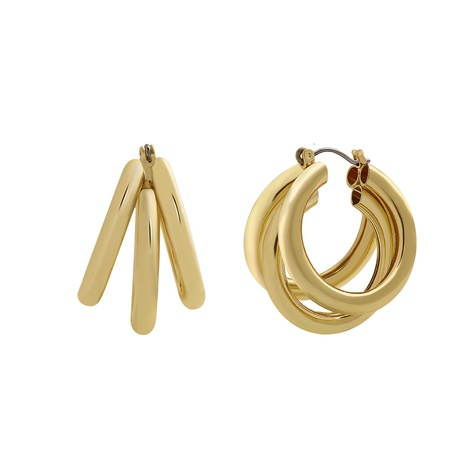 retro copper C-shaped multilayer earrings NHJQ298762's discount tags