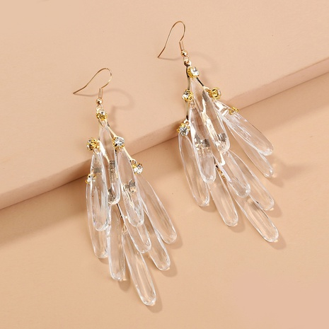 transparent crystal tassel earrings NHAN298864's discount tags