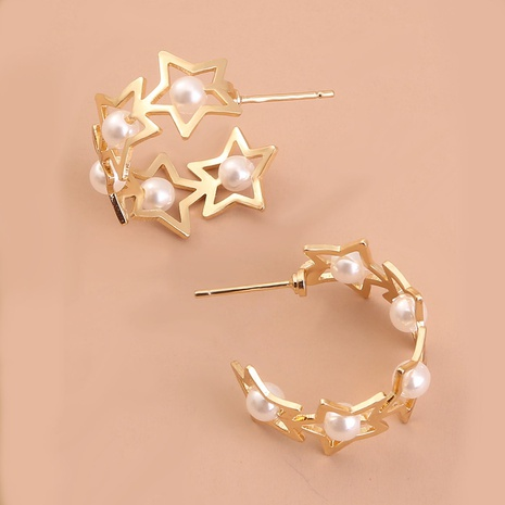 simple star pearl C-shaped earrings NHAN298876's discount tags