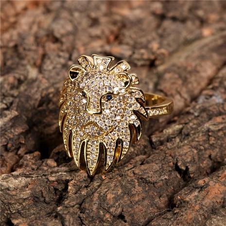 diamond-studded lion head ring  NHPY298882's discount tags