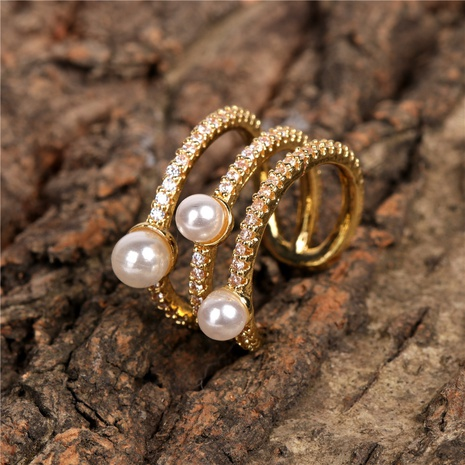 Pearl Diamond Open Ring Wholesale NHPY298885's discount tags