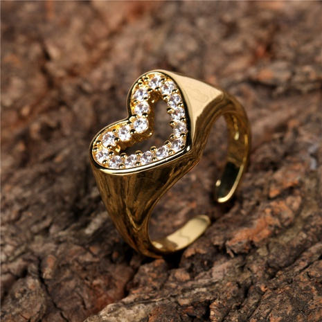 copper diamond heart-shaped open ring NHPY298887's discount tags
