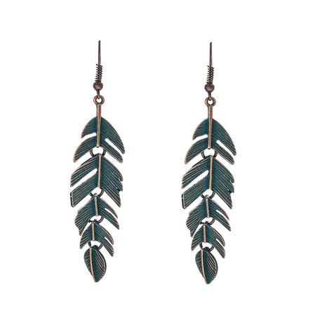 simple retro leaf earrings NHOA298971's discount tags