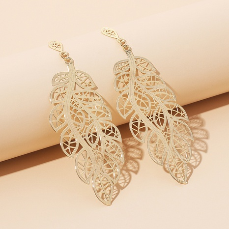 retro hollow leaf earrings  NHRN299025's discount tags