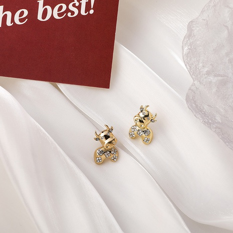 Bull Rhinestone Earrings  NHMS299056's discount tags