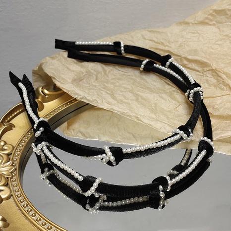 diadema de terciopelo retro con nudo de perlas NHAR299129's discount tags
