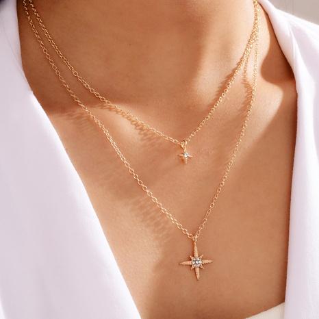 collar con doble cruz de diamantes simple NHOT299784's discount tags