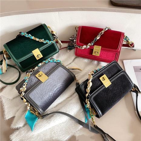 Velvet fashion small square bag NHTG297995's discount tags