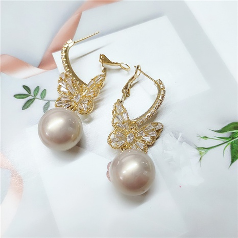 butterfly fashion alloy diamond pearl earrings NHVA298900's discount tags