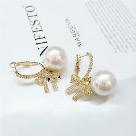 fashion pearl bow earrings  NHVA298910's discount tags