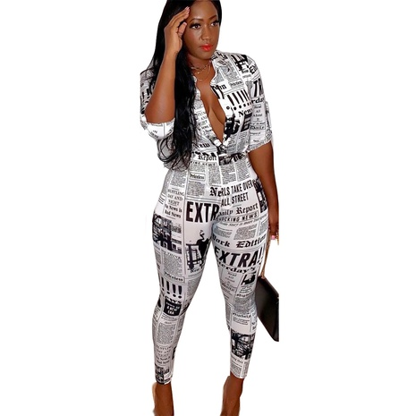 new sexy slim tight long sleeve newspaper printed shirt suit NHIS299192's discount tags