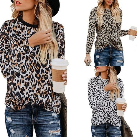 new leopard print women's round neck long sleeve top NHJG299181's discount tags