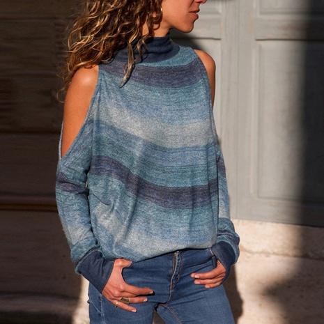 top de punto de mujer con estampado geométrico de manga larga con hombros descubiertos y cuello alto NHJG299174's discount tags