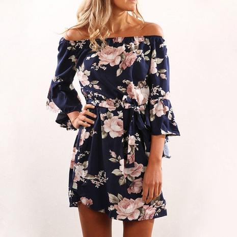 nuevo vestido con cinturón suelto estampado de un cuello NHJG299172's discount tags