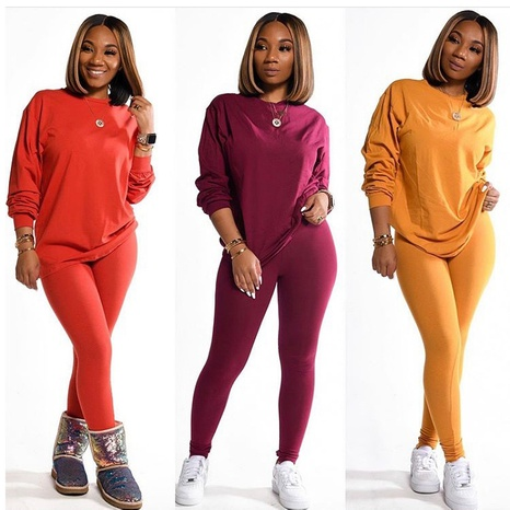 solid color long-sleeved sweater  NHIS299164's discount tags