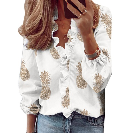 new ruffled long-sleeved slim pineapple print shirt NHJG299160's discount tags