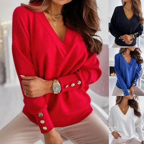 Pullover mit V-Ausschnitt und Strickknöpfen NHJC299159's discount tags