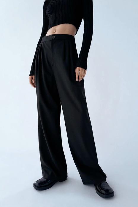 neue plissierte Dekoration Hose mit weitem Bein Freizeithose NHAM299249's discount tags