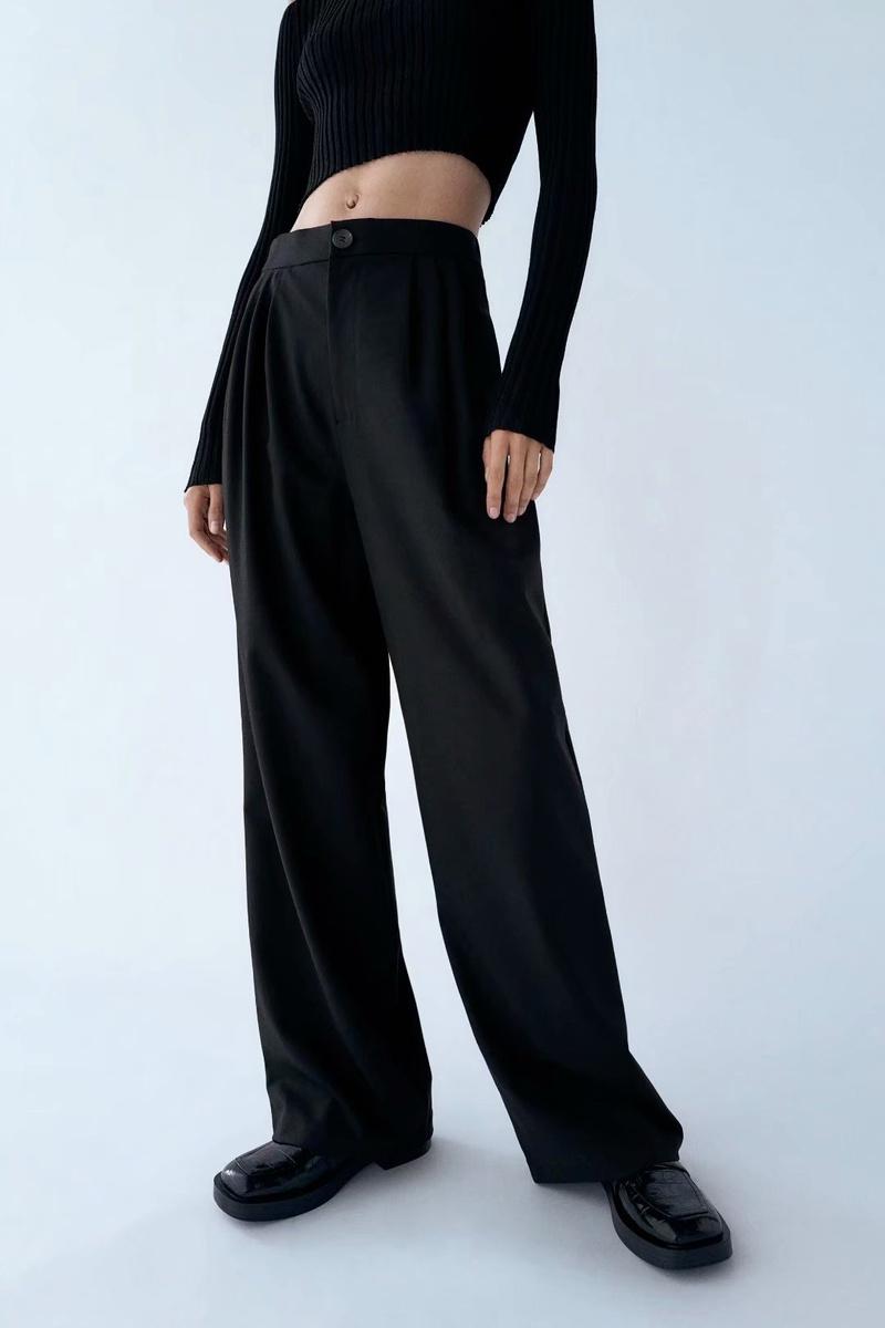 new pleated decoration wide-leg pants casual pants NHAM299249