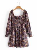 new fashion square collar printed dress  NHAM299259