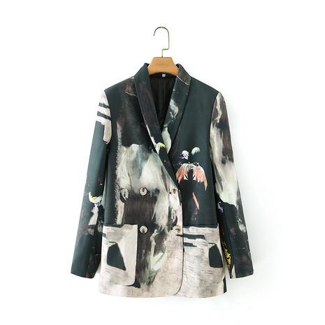 Retro Zweikreuz-Anzugjacke mit Batik-Effekt NHAM299260's discount tags