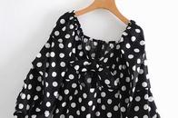 cotton watermark retro sexy waist puff sleeve dress NHAM299271