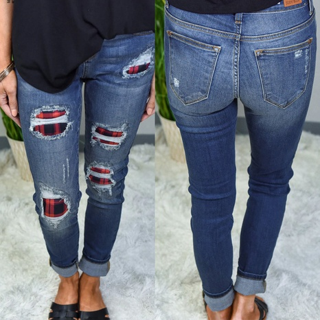 ripped holes printed patch ladies jeans NHYD299343's discount tags
