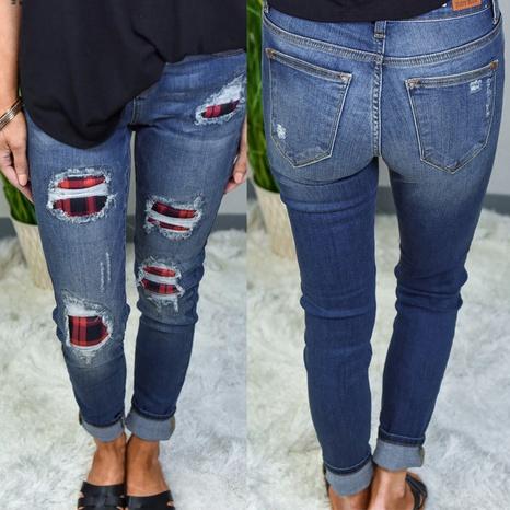zerrissene Löcher bedruckt Patch Damen Jeans NHYD299343's discount tags