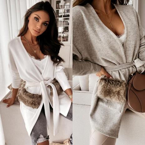 nueva chaqueta de rebeca cortavientos con bolsillo de suéter de piel NHYD299360's discount tags