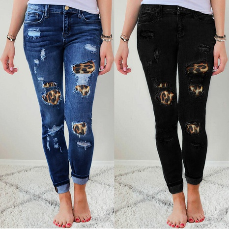 leopard print patch elastic feet jeans  NHYD299369's discount tags
